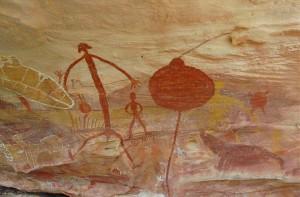 Quinkan rock art from Giant Horse rockshelter (photograph by Noelene Cole).