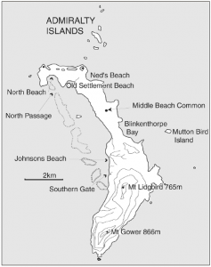 Lord Howe Island showing places mentioned in the paper (published in Australian Archaeology 57:99).