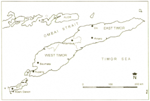Map of Timor (published in Australian Archaeology 51:16).