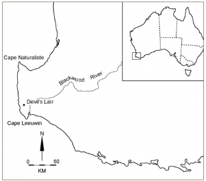 Australia's southwest and the location of Devils Lair (published in Australian Archaeology 59:62).