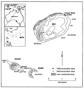Location of excavation sites on Mer, Dauer and Waier Islands in the eastern Torres Strait (published in Australian Archaeology 52:51).