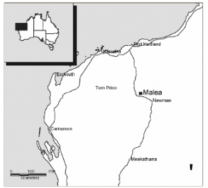 Map showing the location of Malea Rockshelter in the Pilbara (published in Australian Archaeology 56:44).