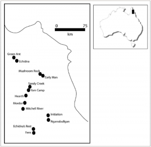 SE Cape York Peninsula showing location of sites (published in Australian Archaeology 60:37).