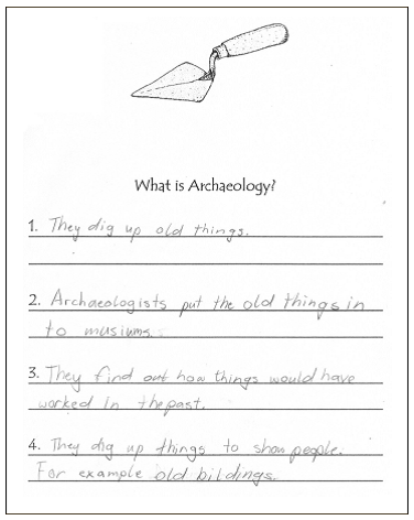 Sample of responses to Question 1: 'What is archaeology?' (published in Australian Archaeology 61:67).