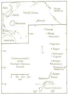 Map showing location of Rota and Saipan, Mariana Islands (published in Australian Archaeology 52:1).