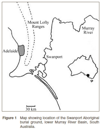 Map showing location of the Swanport Aboriginal burial ground (published in Australian Archaeology 56:8).