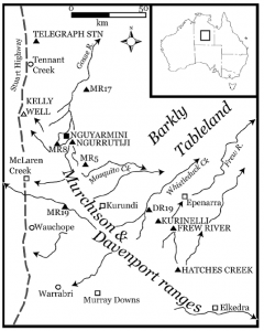 Location of sites in the Murchison and Davenport Ranges (published in Australian Archaeology 57:82).