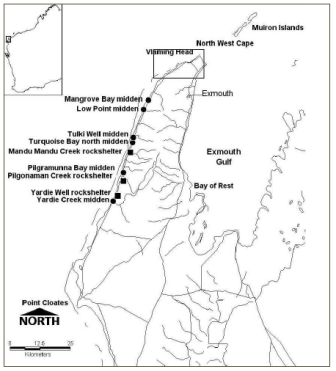 Map showing inset of study area and midden sites in the Cape Range Peninsula, northwest Australia (published in Australian Archaeology 56:12).