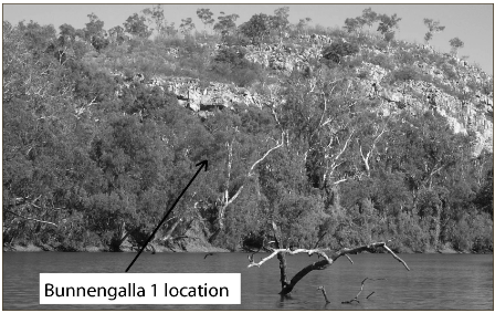 Photograph showing Musselbrook Creek showing location of the Bunnengalla 1 site (published in Australian Archaeology 60:56).