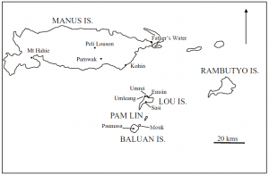 Map of the Admiralty Islands (published in Australian Archaeology 57:136).