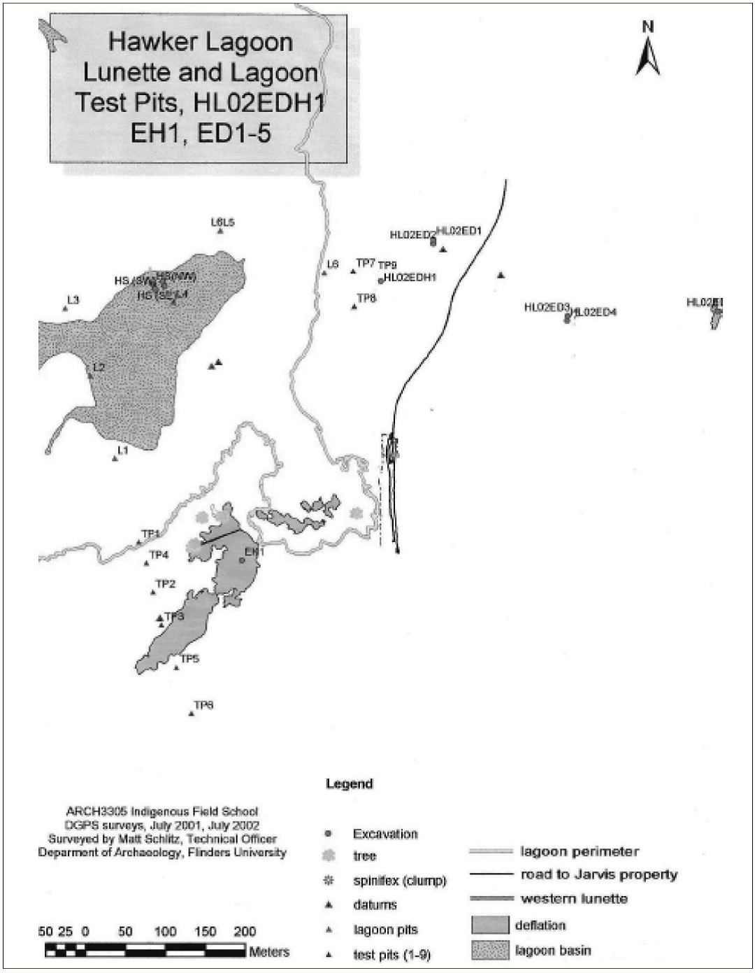 Hawker Lagoon lunette and location of test pits (published in Australian Archaeology 60:27).