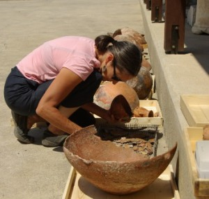 Jenny Webb examining some of the finds from Cyprus.
