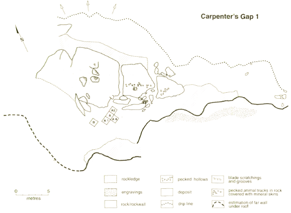 Plan of the Carpenter's Gap 1 rockshelter (published in Australian Archaeology 21).